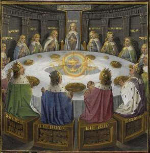 Kuningas Arthurin ritarit Pyöreän pöydän ympärillä. Graal ilmestyy ritreille kultaisen ciboriumin muotoisena, kahden enkelin pitelemänä. Folio 610v,BNFFr 116. https://commons.wikimedia.org/w/index.php?curid=24915048