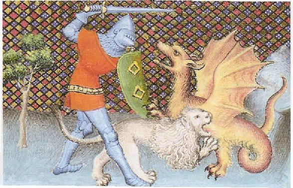 Yvain taistelee lohikäärmettä vastaan pelastaakseen leijonan. Kuva on ilmeisesti 1400-luvun käsikirjoituksesta MSS BNF fr. 112, 113-116, jotka on tilannut Jacques d'Armagnac (1433–1477). https://commons.wikimedia.org/w/index.php?curid=9920004