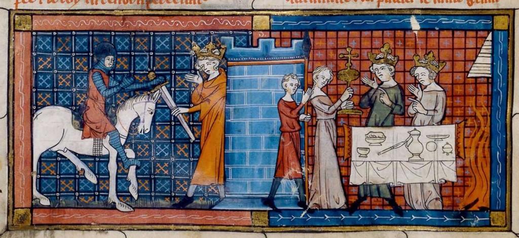 Perceval saapuu Graalin linnaan, missä hän tapaa Kalastaja Kuninkaan ja näkee Graalin kulkueen. Chrétien de Troyes'n Percevalin käsikirjoitus vuodelta 1330, BnF Français 12577, fol. 18v. BnF: http://expositions.bnf.fr/arthur/grand/fr_12577_018v.htm, Public Domain, https://commons.wikimedia.org/w/index.php?curid=47830356