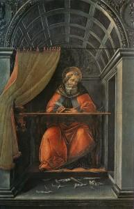 Sandro Botticelli, Augustinus työhuoneessaan (1494). Tältä Augustinus ei näyttänyt.