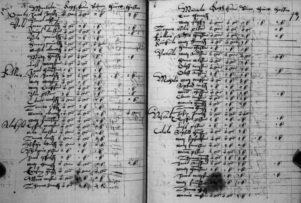Nousiaisen vuoden 1567 kymmenysluettelon aukeama (KA 1086:12v-13)